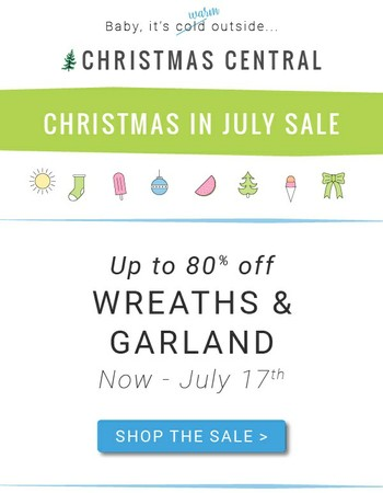 Save 80% Off Garland, Wreaths & more
