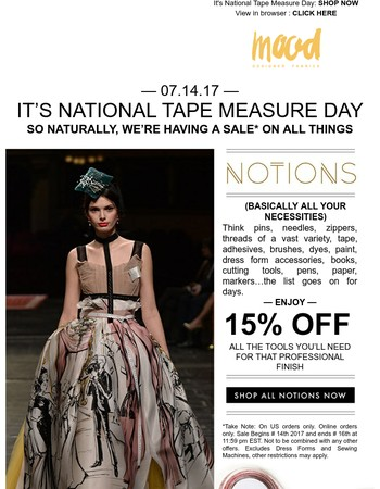 15% OFF Sewing Notions! SHOP NOW