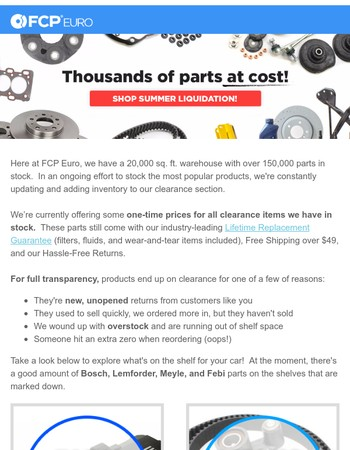 Clearance Parts at Cost.