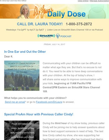 How to Improve Communication with Your Kids, Today on Dr. Laura