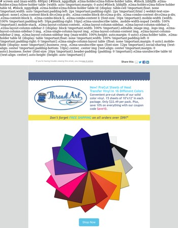 Just Added!! PreCut Sheets of Heat Transfer Vinyl in 16 Colors