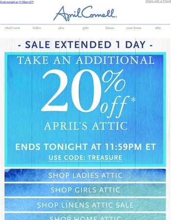 SALE EXTENDED! More treasure to be found! Up to 60% off
