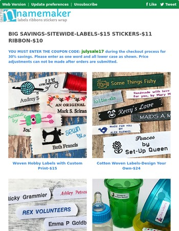 Save 30% on Labels-Knit, Crochet, Sew, Quilt & More