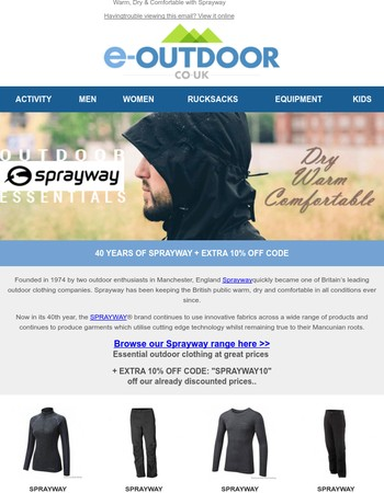 Keeping warm, dry and comfortable with Sprayway PLUS 10% OFF CODE