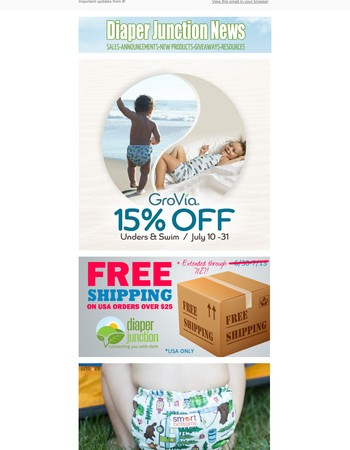 ⭐ Win a Diaper Rite AIO & Wetbag, Save 15% off Grovia Unders & Swim Diapers and Free Shipping continues!
