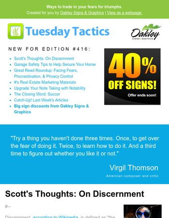 Happy Friday! Catch up on this week's Tuesday Tactics (#416)