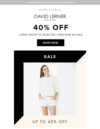 Going Quick – Don't Miss Our 40% Off Sale