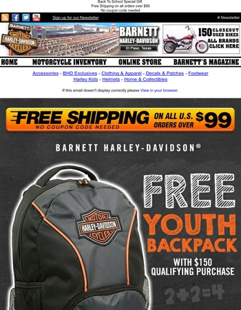 Free Backpack with Qualifying Purchase!