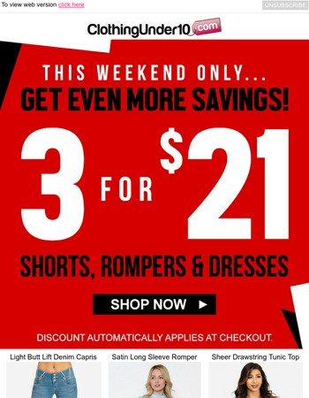 3 For $21 Shorts, Rompers & Dresses!