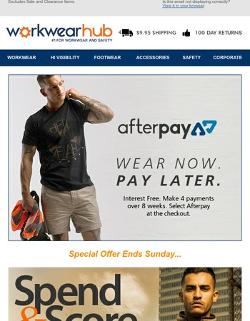 ⚡ Broke As? Wear Now Pay Later with Afterpay. PLUS $40 Off New Work Gear.
