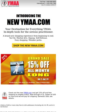 New YMAA.COM: With More Features