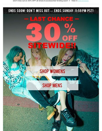 LAST CHANCE for 30% OFF (almost) EVERYTHING!
