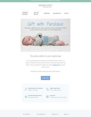 Gift with purchase | Babywrap & Bodysuit