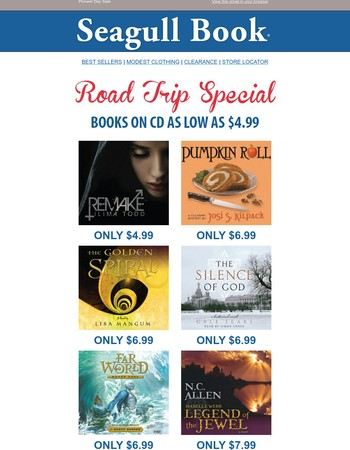 Road Trip Special: Books on CD for as low as $4.99!