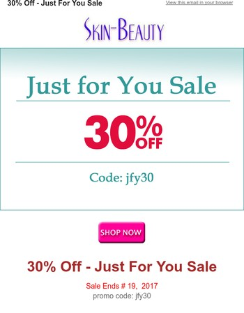 30% Off - Just For You Sale