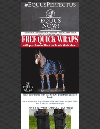 FREE BACK ON TRACK Quick Wraps at Equus Now! Limited Time Offer!