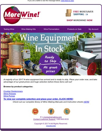Wine Equipment In Stock & Ready To Ship!