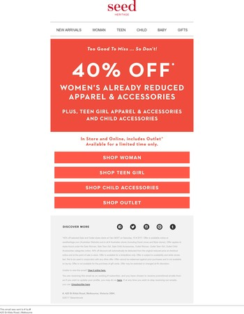 Extra 40% Off Selected Sale Styles*
