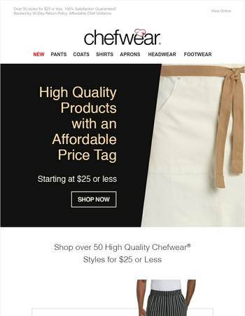High Quality Chef Wear Under $25