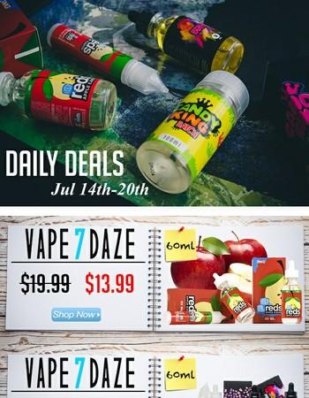 Candy King $14.99 | Vape 7 Daze $13.99 | Blog: Effects of Vaping on Teeth