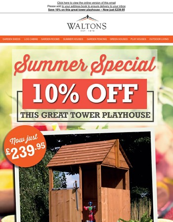 Save 10% on this great tower playhouse – Now just £239.95