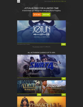 Jotun GIVEAWAY | Activision deals up to -80%