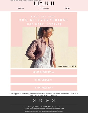 Quick! 20% Off Everything On Now!