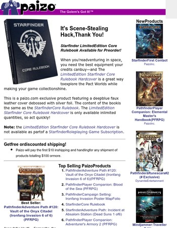 This Week at Paizo: Limited Edition Starfinder Core Rulebook, Pathfinder Player Companion, Third-Party Products, Lone Shark Card Game, and More!