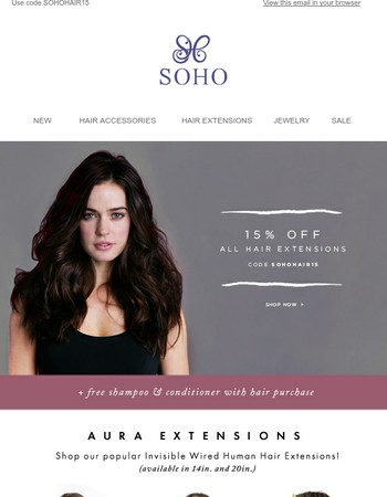 15% off ALL HAIR EXTENSIONS