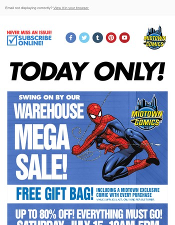 TODAY! MEGA warehouse sale – up to 80% OFF EVERYTHING