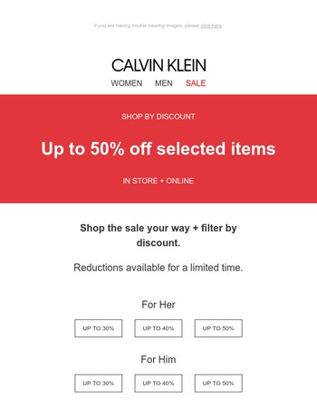 Up to 50% Off Sale, Your Way – Shop By Discount