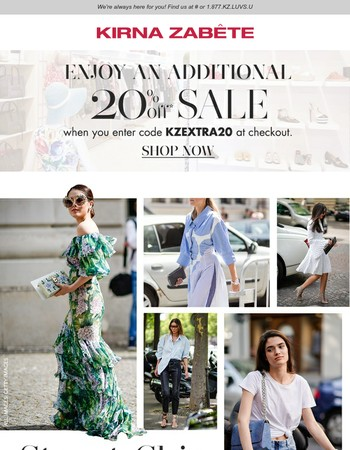 5 street style looks to shop now.   Enjoy an additional 20% off Sale!