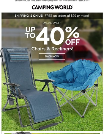 Save up to 40% off Chairs & Recliners