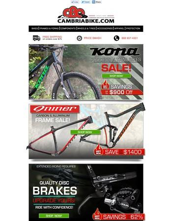 Kona Process Bike SALE! ~ Niner Frames $1400 Off! ~ Disc Brake Sale!