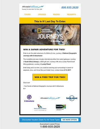 Last Day To Win A FREE National Geographic Vacation