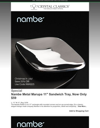 Nambe Sandwich Tray, Now Only $59