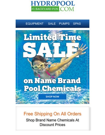 All Pool Chemicals On Sale! Plus Free Shipping