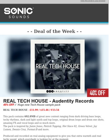 40% OFF - Real Tech House - Audentity Records