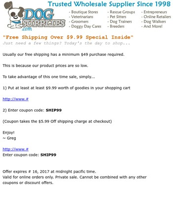Free Shipping Over $9.99 Is Back - (Last Chance)