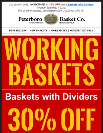 Baskets with Dividers + 30% Off