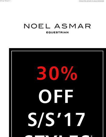 30% OFF SS'17 STYLES