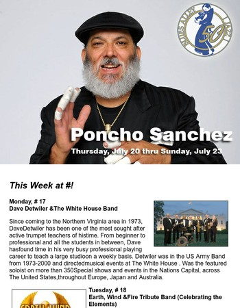 Poncho Sanchez ~ This Week at Blues Alley!