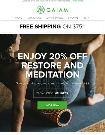 20% off Meditation and Restore