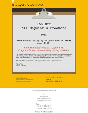 Meguiar's Sale with Free Shipping!