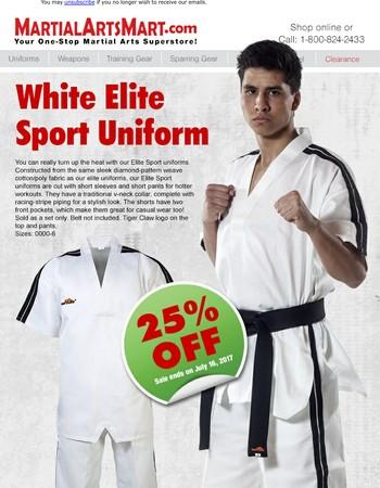 25% OFF White Elite Sport Uniform!