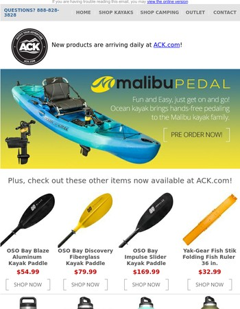 New Product Alert: Ocean Kayak Malibu Pedal Kayak - Pre Order Yours for August Delivery Now!