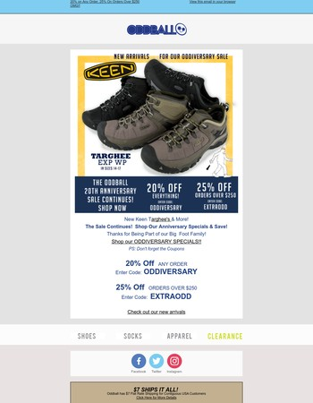 Get Your Hiking On! New Targhees are here. Oddiversary 20 Sale continues....