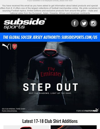 Subside Sports -The New 2017 / 2018 Arsenal 3rd Jersey