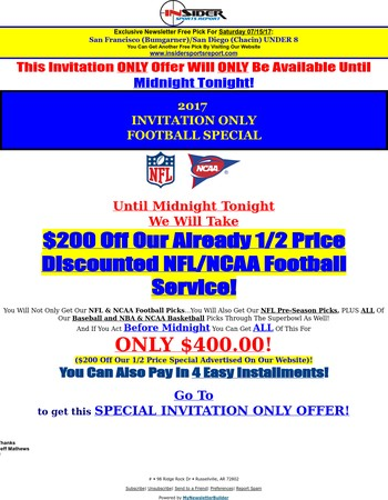 Today Is The Last Day To Get Our NFL/NCAA Earlybird Football Special For Only $400!