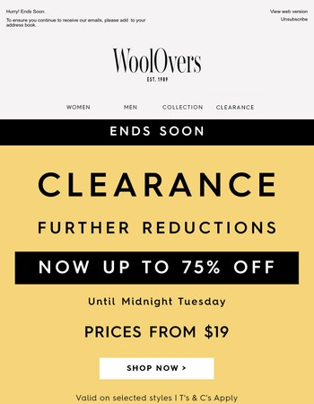Wrap up in warmth - Clearance ends soon!